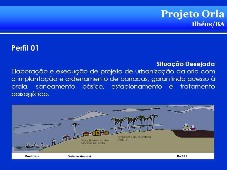 Projeto Orla Ilhéus/BA Perfil 01 Situação Desejada Elaboração e execução de projeto de urbanização da orla com a implantação e ordenamento de barracas