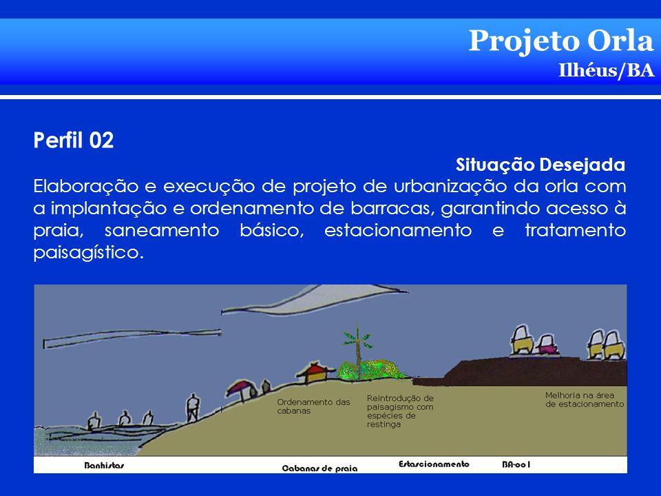 Projeto Orla Ilhéus/BA Perfil 02 Situação Desejada Elaboração e execução de projeto de urbanização da orla com a implantação e ordenamento de barracas
