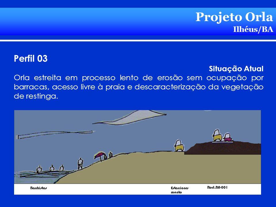 Projeto Orla Ilhéus/BA Perfil 03 Situação Atual Orla estreita em processo lento de erosão sem ocupação por barracas, acesso livre à praia e descaracte