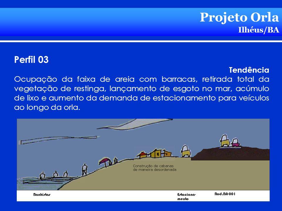 Projeto Orla Ilhéus/BA Perfil 03 Tendência Ocupação da faixa de areia com barracas, retirada total da vegetação de restinga, lançamento de esgoto no m