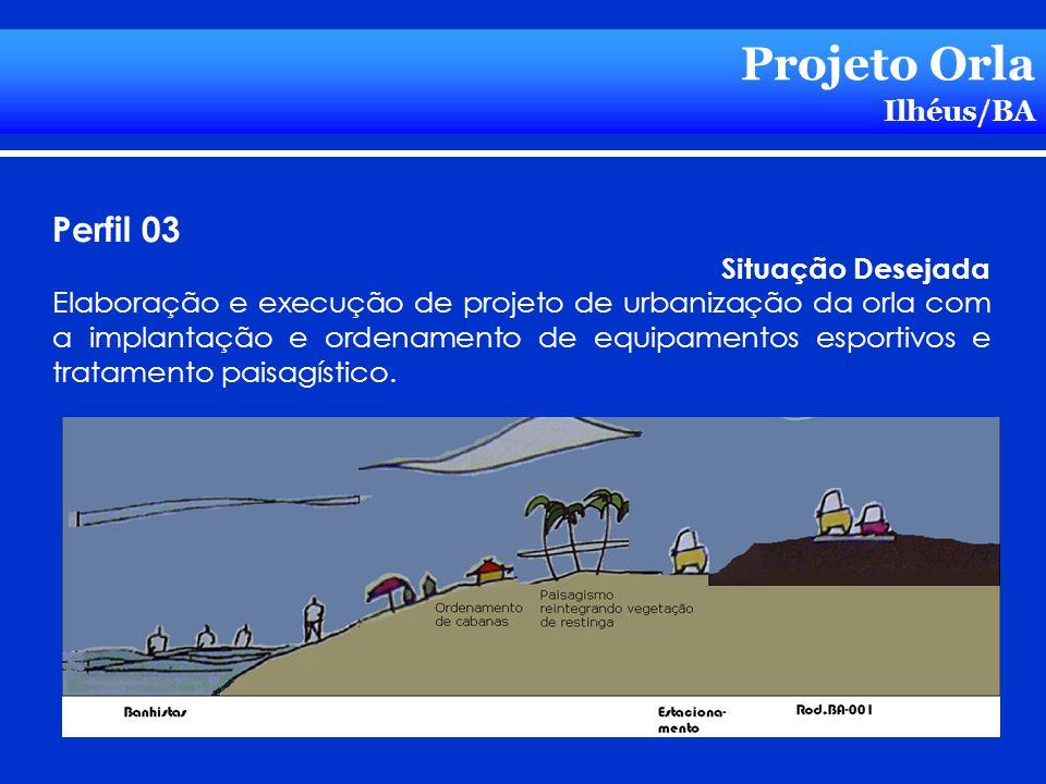 Projeto Orla Ilhéus/BA Perfil 03 Situação Desejada Elaboração e execução de projeto de urbanização da orla com a implantação e ordenamento de equipame