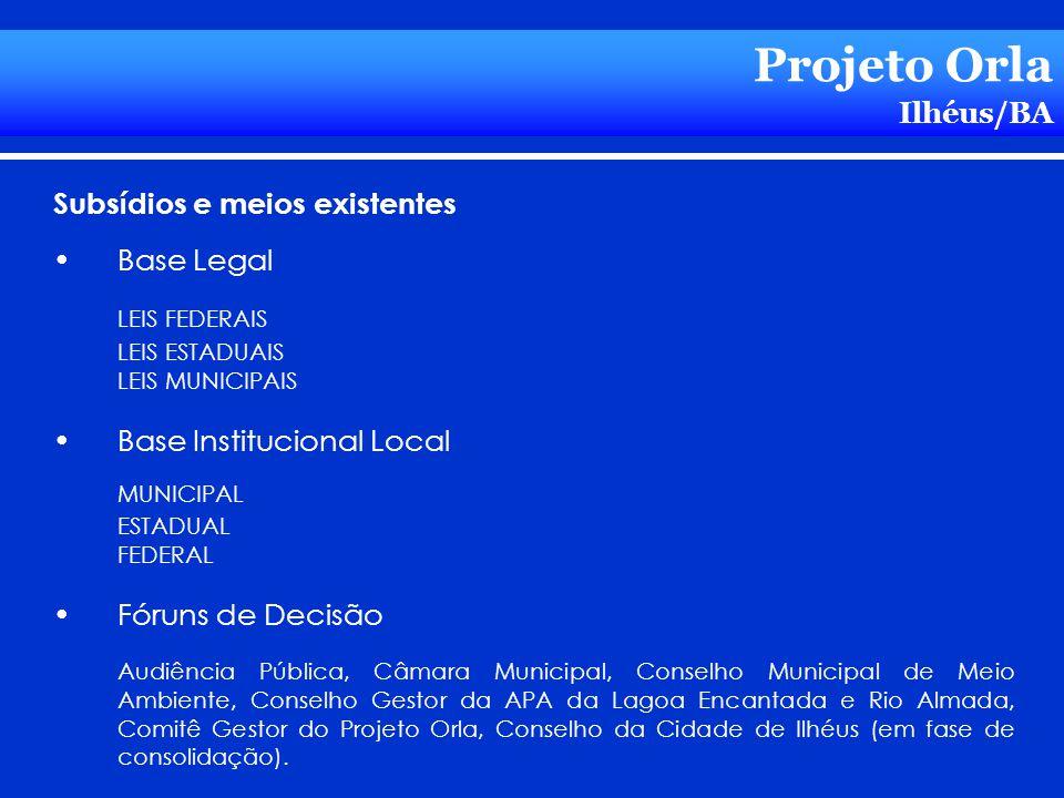 Projeto Orla Ilhéus/BA Subsídios e meios existentes Base Legal LEIS FEDERAIS LEIS ESTADUAIS LEIS MUNICIPAIS Base Institucional Local MUNICIPAL ESTADUA