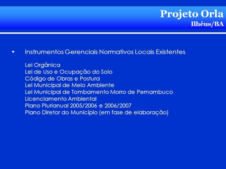 Projeto Orla Ilhéus/BA Instrumentos Gerenciais Normativos Locais Existentes Lei Orgânica Lei de Uso e Ocupação do Solo Código de Obras e Postura Lei M