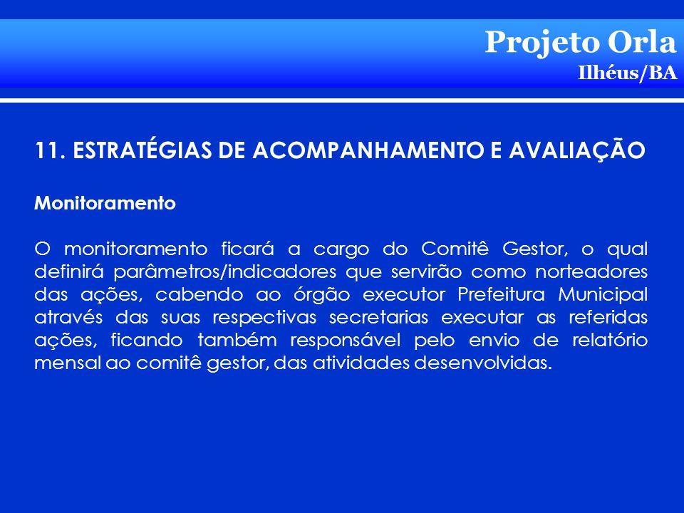 Projeto Orla Ilhéus/BA 11. ESTRATÉGIAS DE ACOMPANHAMENTO E AVALIAÇÃO Monitoramento O monitoramento ficará a cargo do Comitê Gestor, o qual definirá pa