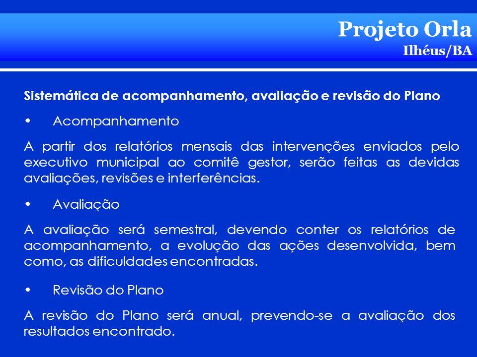 Projeto Orla Ilhéus/BA Avaliação A avaliação será semestral, devendo conter os relatórios de acompanhamento, a evolução das ações desenvolvida, bem co