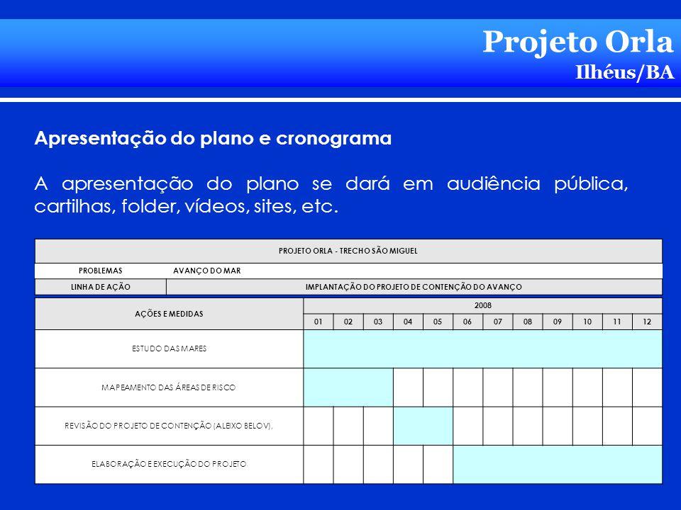 Projeto Orla Ilhéus/BA Apresentação do plano e cronograma A apresentação do plano se dará em audiência pública, cartilhas, folder, vídeos, sites, etc.