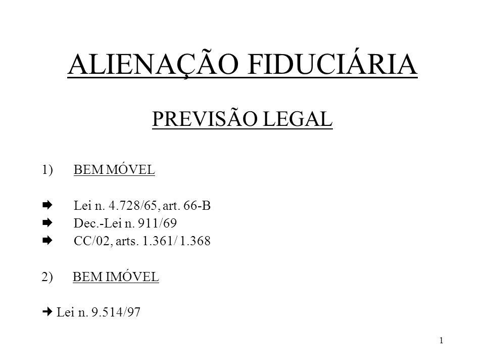 1 ALIENAÇÃO FIDUCIÁRIA PREVISÃO LEGAL 1)BEM MÓVEL Lei n. 4.728/65, art. 66-B Dec.-Lei n. 911/69 CC/02, arts. 1.361/ 1.368 2) BEM IMÓVEL Lei n. 9.514/9