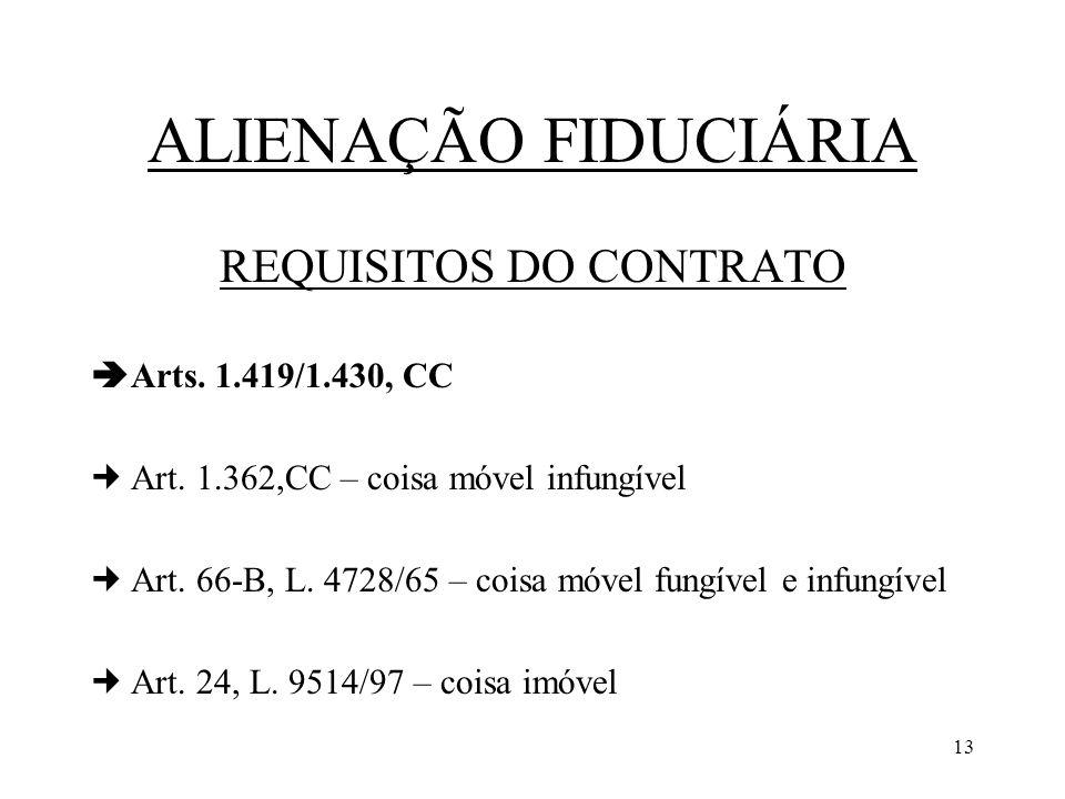 13 ALIENAÇÃO FIDUCIÁRIA REQUISITOS DO CONTRATO Arts. 1.419/1.430, CC Art. 1.362,CC – coisa móvel infungível Art. 66-B, L. 4728/65 – coisa móvel fungív