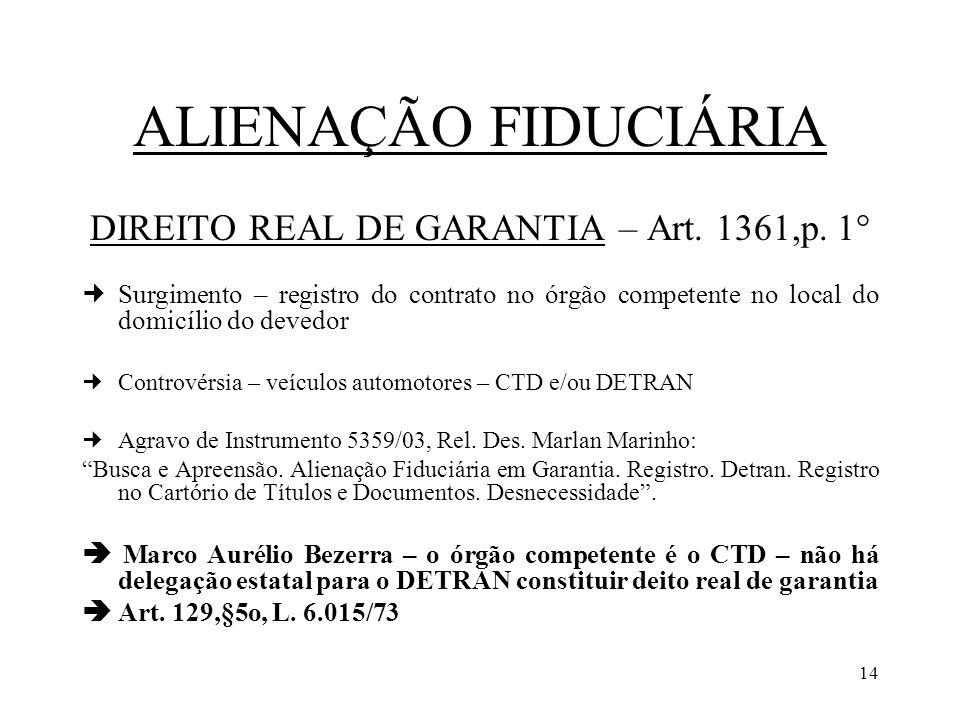 14 ALIENAÇÃO FIDUCIÁRIA DIREITO REAL DE GARANTIA – Art. 1361,p. 1° Surgimento – registro do contrato no órgão competente no local do domicílio do deve