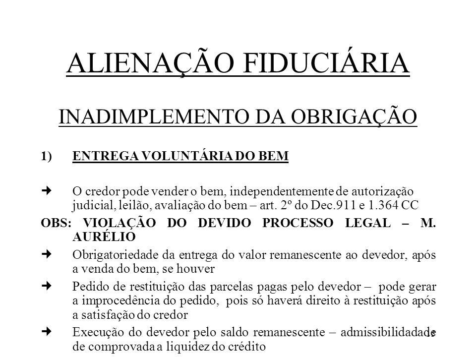 15 ALIENAÇÃO FIDUCIÁRIA INADIMPLEMENTO DA OBRIGAÇÃO 1)ENTREGA VOLUNTÁRIA DO BEM O credor pode vender o bem, independentemente de autorização judicial,