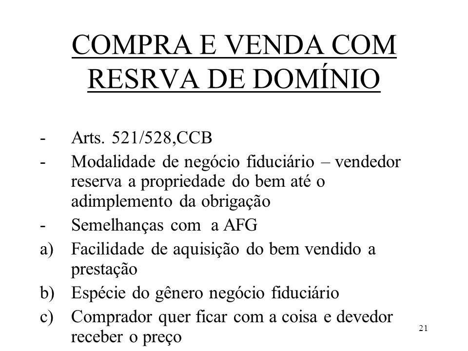 21 COMPRA E VENDA COM RESRVA DE DOMÍNIO -Arts. 521/528,CCB -Modalidade de negócio fiduciário – vendedor reserva a propriedade do bem até o adimplement
