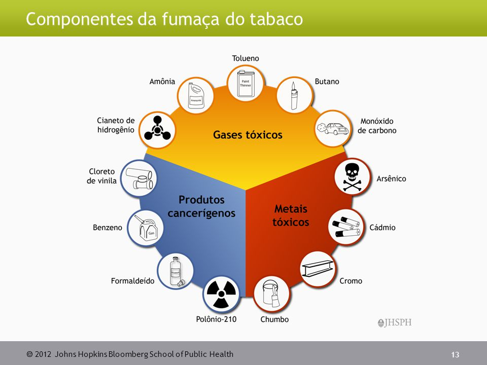2012 Johns Hopkins Bloomberg School of Public Health Componentes da fumaça do tabaco 13