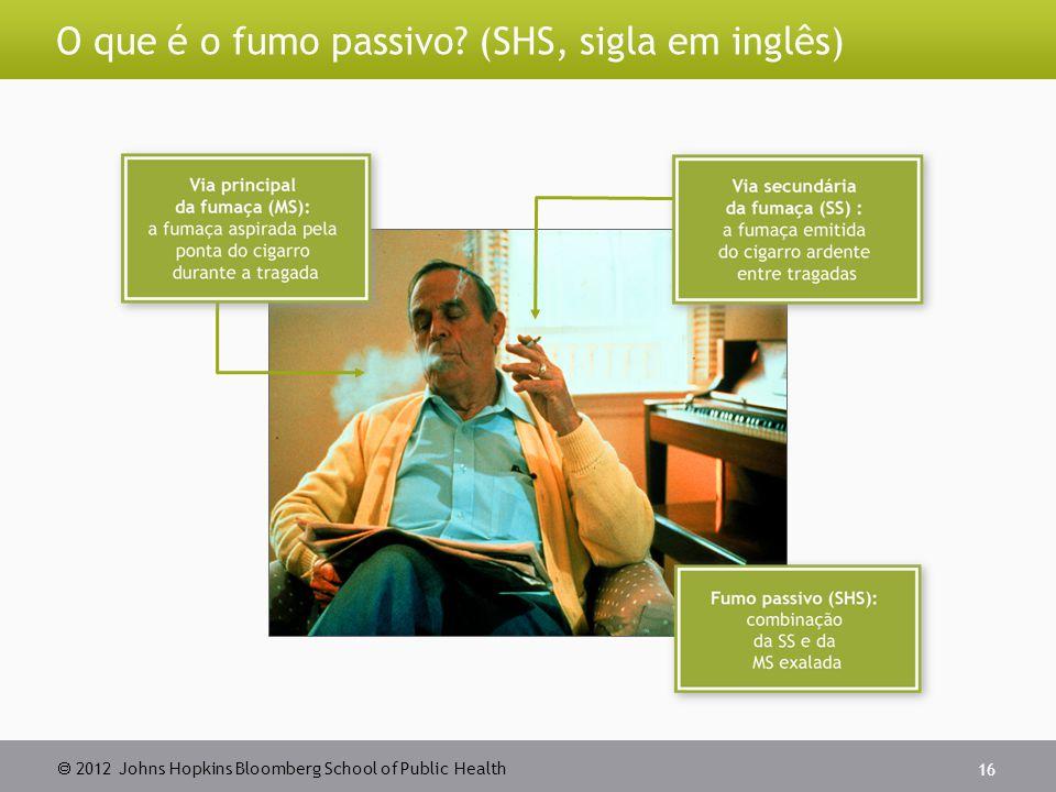 2012 Johns Hopkins Bloomberg School of Public Health O que é o fumo passivo? (SHS, sigla em inglês) 16