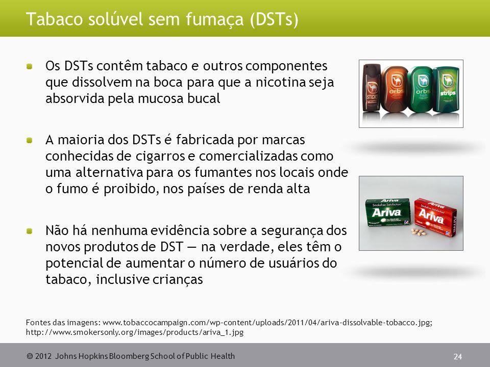 2012 Johns Hopkins Bloomberg School of Public Health Tabaco solúvel sem fumaça (DSTs) Os DSTs contêm tabaco e outros componentes que dissolvem na boca