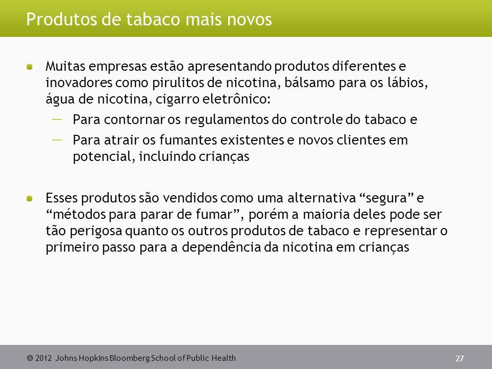 2012 Johns Hopkins Bloomberg School of Public Health Produtos de tabaco mais novos Muitas empresas estão apresentando produtos diferentes e inovadores