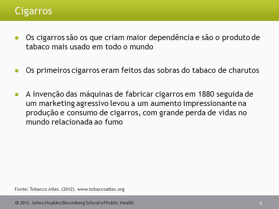 2012 Johns Hopkins Bloomberg School of Public Health Cigarros Os cigarros são os que criam maior dependência e são o produto de tabaco mais usado em t