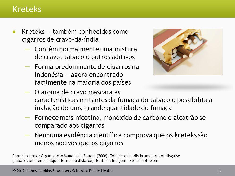 2012 Johns Hopkins Bloomberg School of Public Health Cigarros eletrônicos Sistematicamente vendidos como uma alternativa para os cigarros, para ser fumado nos locais públicos ou como um auxílio para parar, ou ambos Além de fornecer a nicotina, os cigarro eletrônicos fornecem substâncias altamente tóxicas (dietilenoglicol), carcinógenos (nitrosaminas) e outras substâncias químicas perigosas* 29 *Fonte: www.health.harvard.edu/blog/electronic-cigarettes-help-or-hazard-201109223395