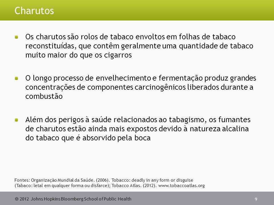 2012 Johns Hopkins Bloomberg School of Public Health Charutos Os charutos são rolos de tabaco envoltos em folhas de tabaco reconstituídas, que contêm