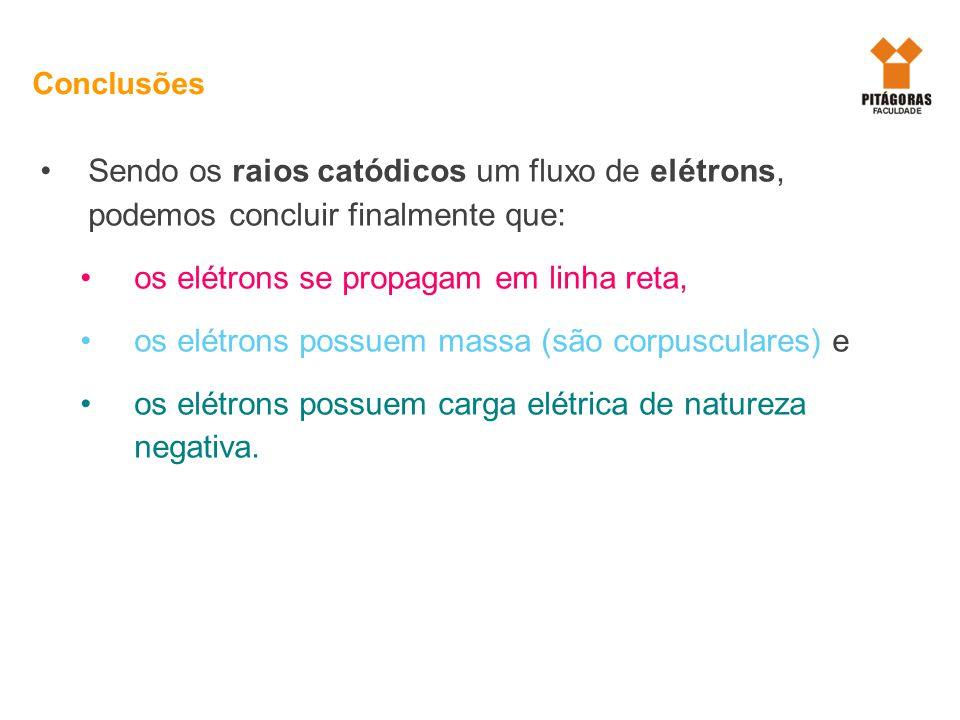 Sendo os raios catódicos um fluxo de elétrons, podemos concluir finalmente que: os elétrons se propagam em linha reta, os elétrons possuem massa (são