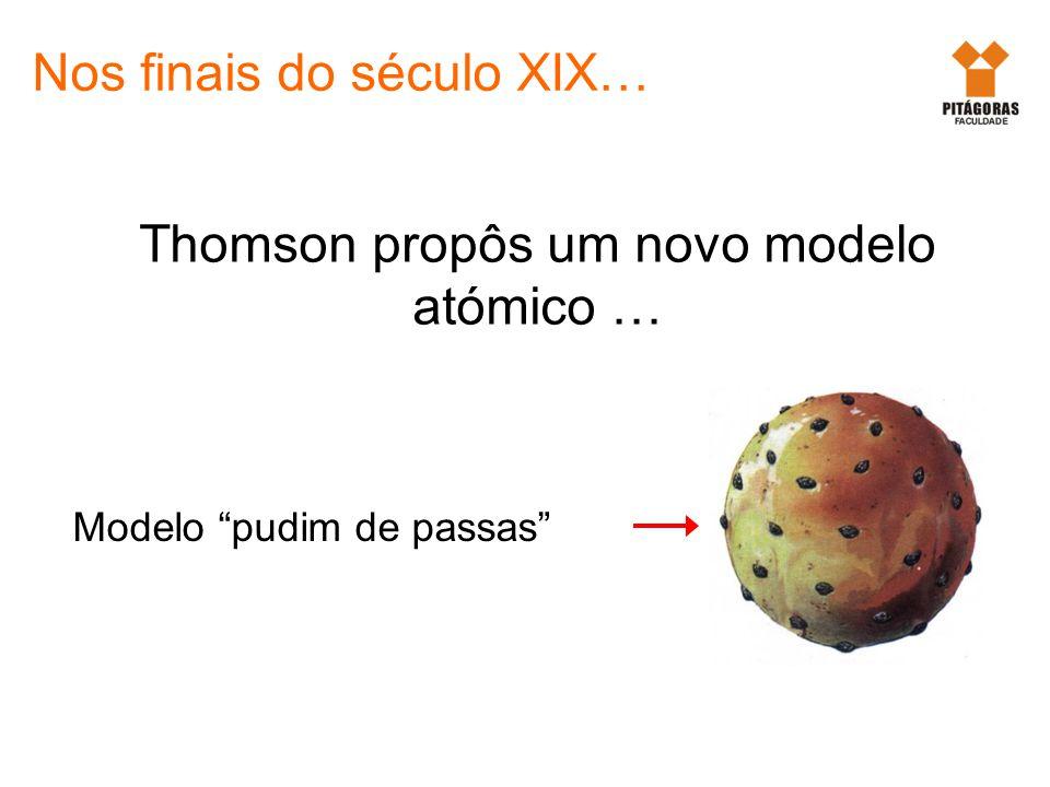 Thomson propôs um novo modelo atómico … Nos finais do século XIX… Modelo pudim de passas