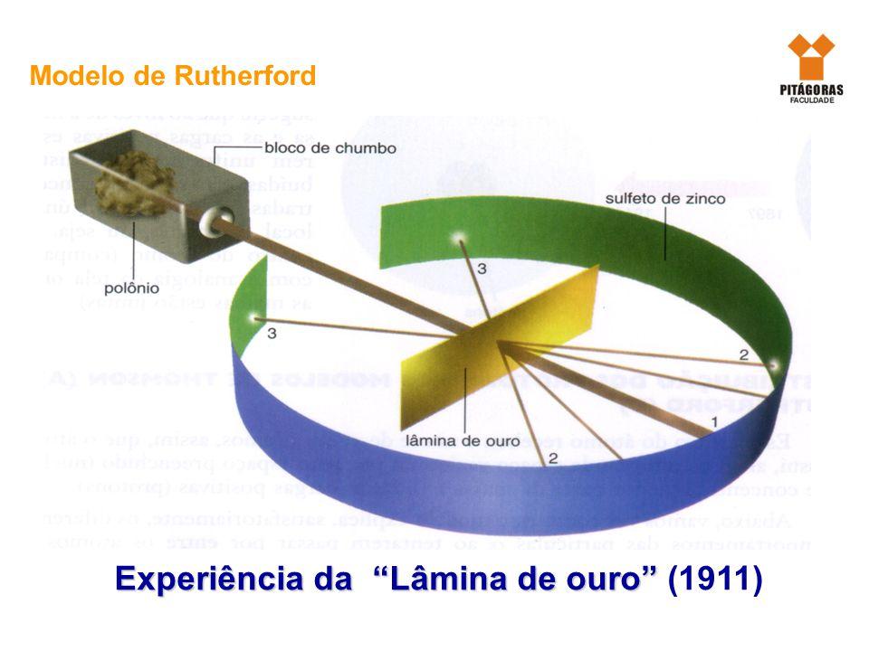 Química Experiência da Lâmina de ouro Experiência da Lâmina de ouro (1911) Modelo de Rutherford