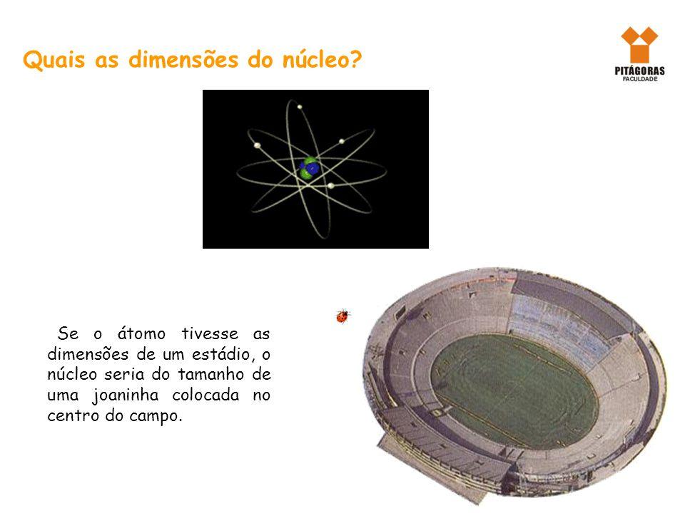 Quais as dimensões do núcleo? Se o átomo tivesse as dimensões de um estádio, o núcleo seria do tamanho de uma joaninha colocada no centro do campo.