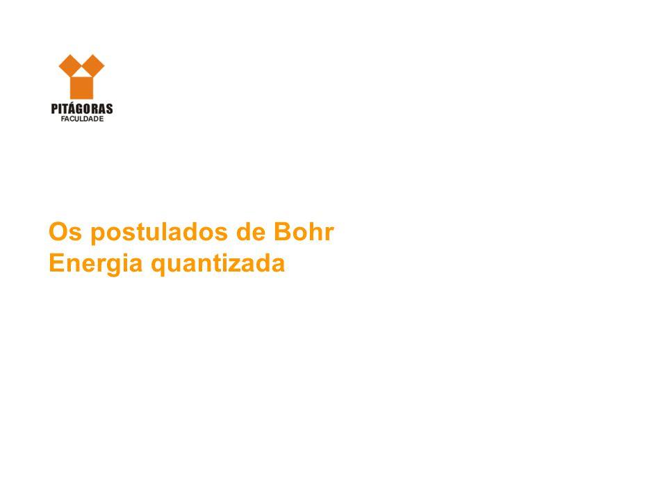 Os postulados de Bohr Energia quantizada