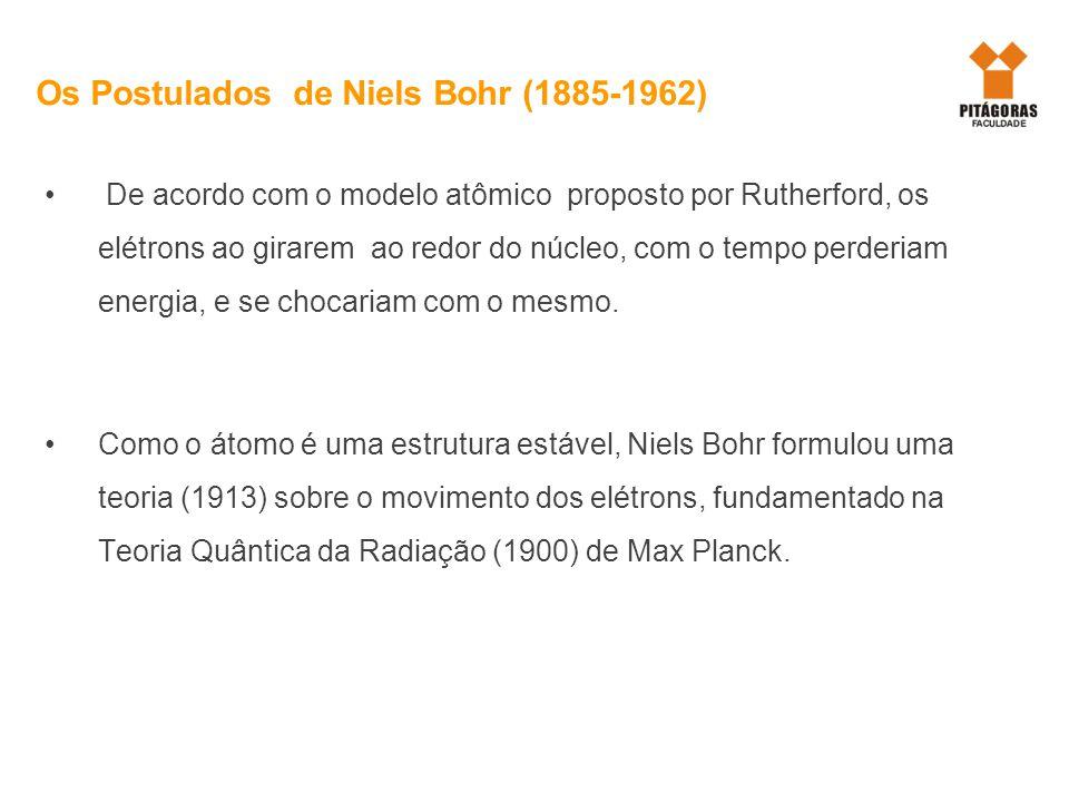 Os Postulados de Niels Bohr (1885-1962) De acordo com o modelo atômico proposto por Rutherford, os elétrons ao girarem ao redor do núcleo, com o tempo