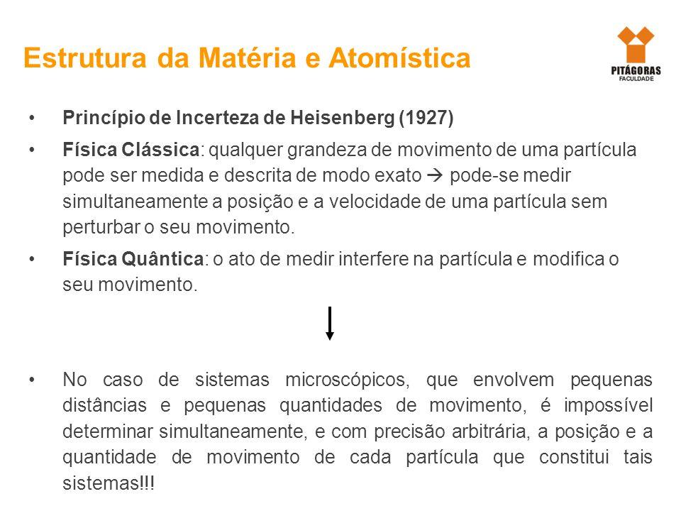 Princípio de Incerteza de Heisenberg (1927) Física Clássica: qualquer grandeza de movimento de uma partícula pode ser medida e descrita de modo exato