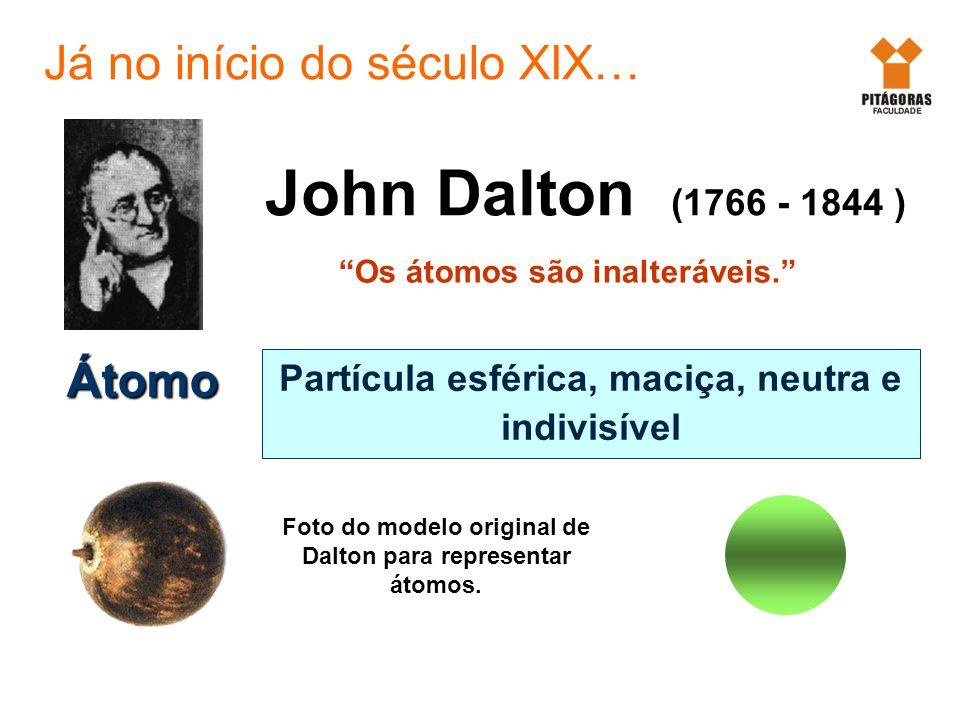 Átomo Partícula esférica, maciça, neutra e indivisível Os átomos são inalteráveis. John Dalton (1766 - 1844 ) Foto do modelo original de Dalton para r