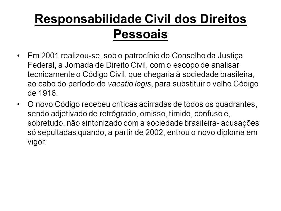 Responsabilidade No que tange à responsabilidade civil o novo Código representa, em geral, notável avanço, com progressos indiscutíveis, entendendo a comissão que não há necessidade de prorrogação da vacatio legis.