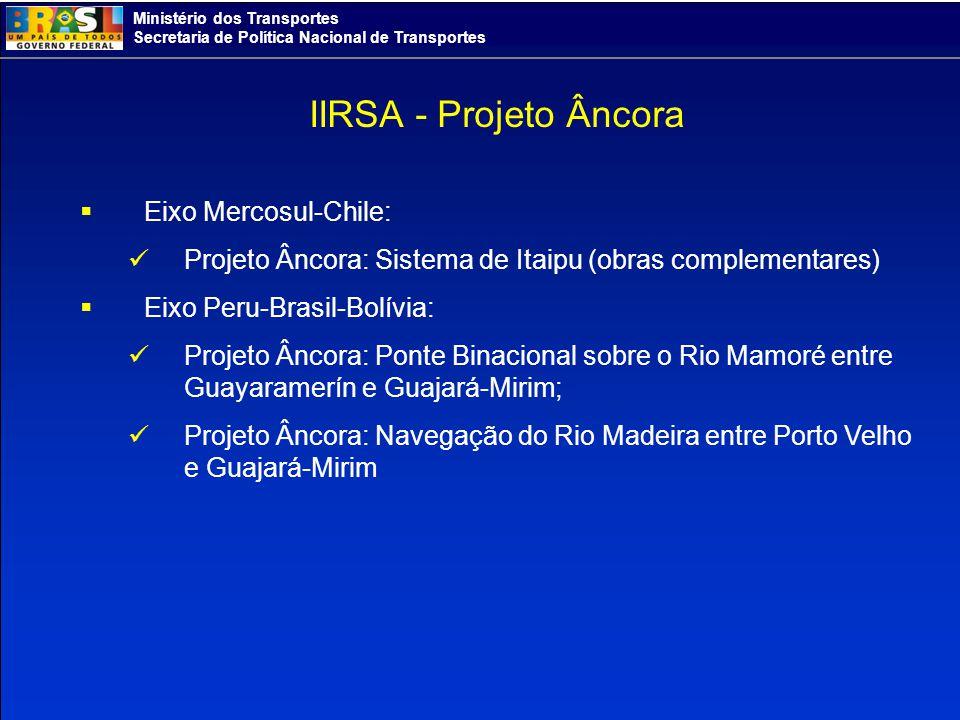 Ministério dos Transportes Secretaria de Política Nacional de Transportes Eixo Mercosul-Chile: Projeto Âncora: Sistema de Itaipu (obras complementares