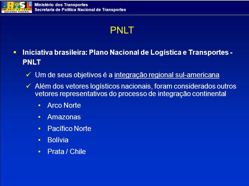 Ministério dos Transportes Secretaria de Política Nacional de Transportes PNLT Iniciativa brasileira: Plano Nacional de Logística e Transportes - PNLT