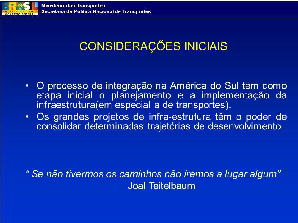 Ministério dos Transportes Secretaria de Política Nacional de Transportes CONSIDERAÇÕES INICIAIS O processo de integração na América do Sul tem como e