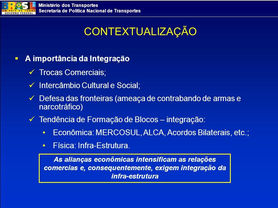 Ministério dos Transportes Secretaria de Política Nacional de Transportes Iniciativas Regionais: Fóruns de Discussão de Integração CRIAS (1996) - Comitê das Rotas de Integração da América do Sul IIRSA (2000) – Iniciativa para a Integração da Infra-Estrutura Regional Sul Americana OTCA (1995) – Organização do Tratado de Cooperação Amazônica CONTEXTUALIZAÇÃO