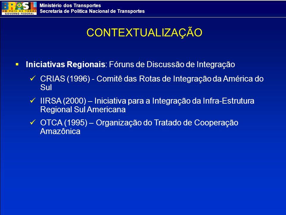 Ministério dos Transportes Secretaria de Política Nacional de Transportes Iniciativas Regionais: Fóruns de Discussão de Integração CRIAS (1996) - Comi