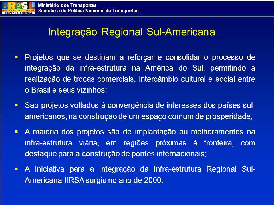 Ministério dos Transportes Secretaria de Política Nacional de Transportes Integração Regional Sul-Americana Projetos que se destinam a reforçar e cons