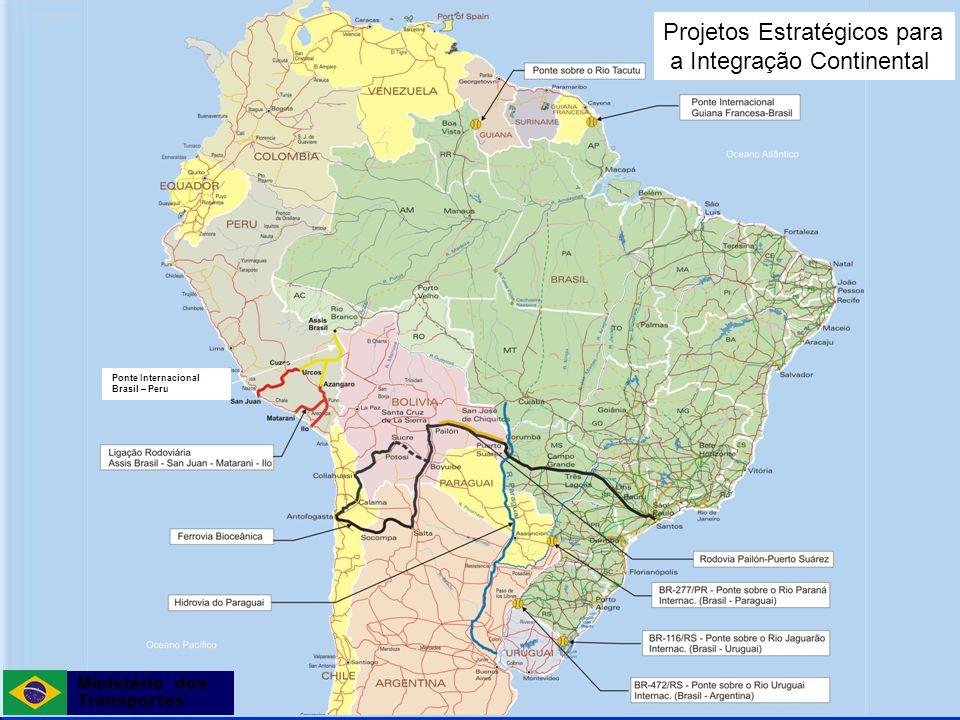 Secretaria de Política Nacional de Transportes Integração da Infraestrutura Regional Sul-Americana (IIRSA) O Brasil participa dos seguintes eixos: Eixo de Capricórnio; Eixo da Hidrovia Paraguai-Paraná; Eixo do Amazonas; Eixo do Escudo Guianês; Eixo Interoceânico Central; Eixo Mercosul-Chile; Eixo Peru-Brasil-Bolívia.