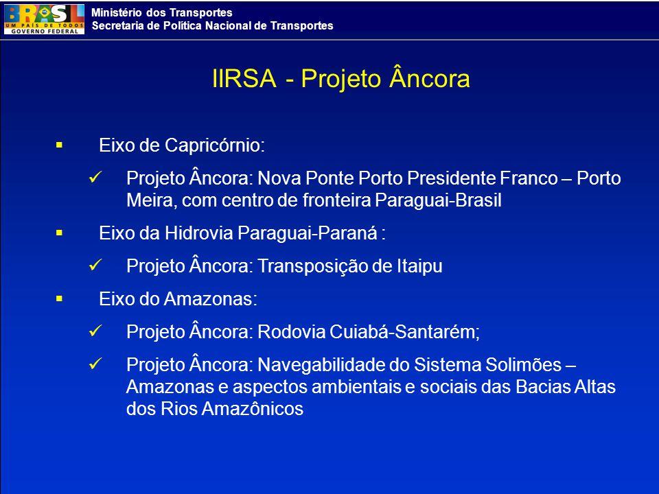Ministério dos Transportes Secretaria de Política Nacional de Transportes IIRSA - Projeto Âncora Eixo de Capricórnio: Projeto Âncora: Nova Ponte Porto