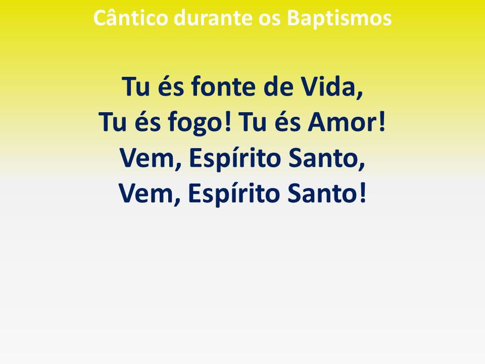 Cântico durante os Baptismos Tu és fonte de Vida, Tu és fogo! Tu és Amor! Vem, Espírito Santo, Vem, Espírito Santo!
