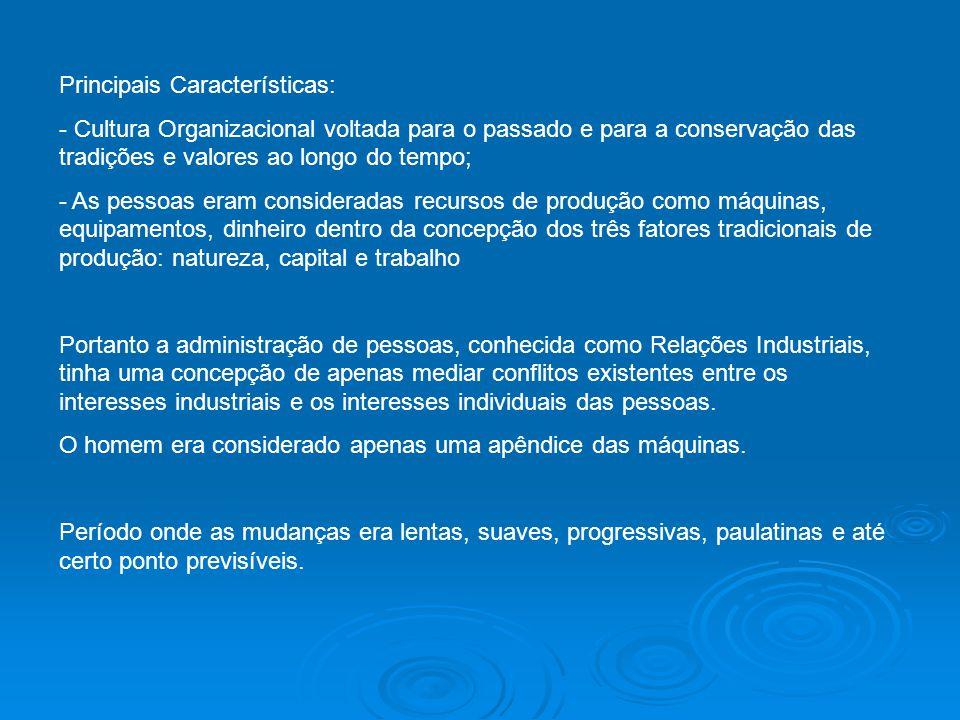 Principais Características: - Cultura Organizacional voltada para o passado e para a conservação das tradições e valores ao longo do tempo; - As pesso