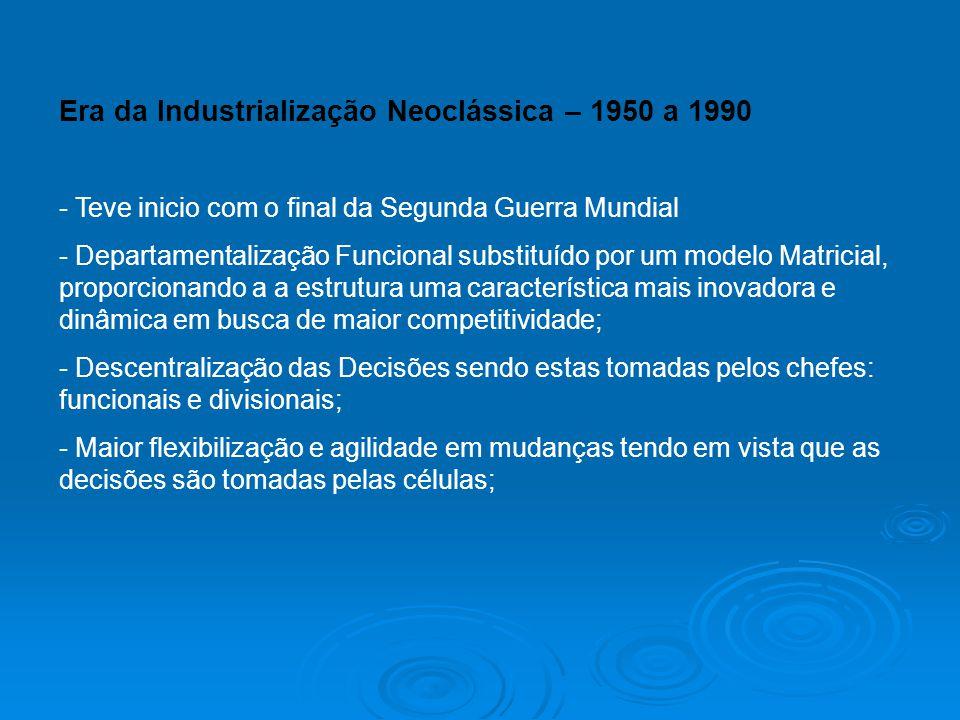 Era da Industrialização Neoclássica – 1950 a 1990 - Teve inicio com o final da Segunda Guerra Mundial - Departamentalização Funcional substituído por