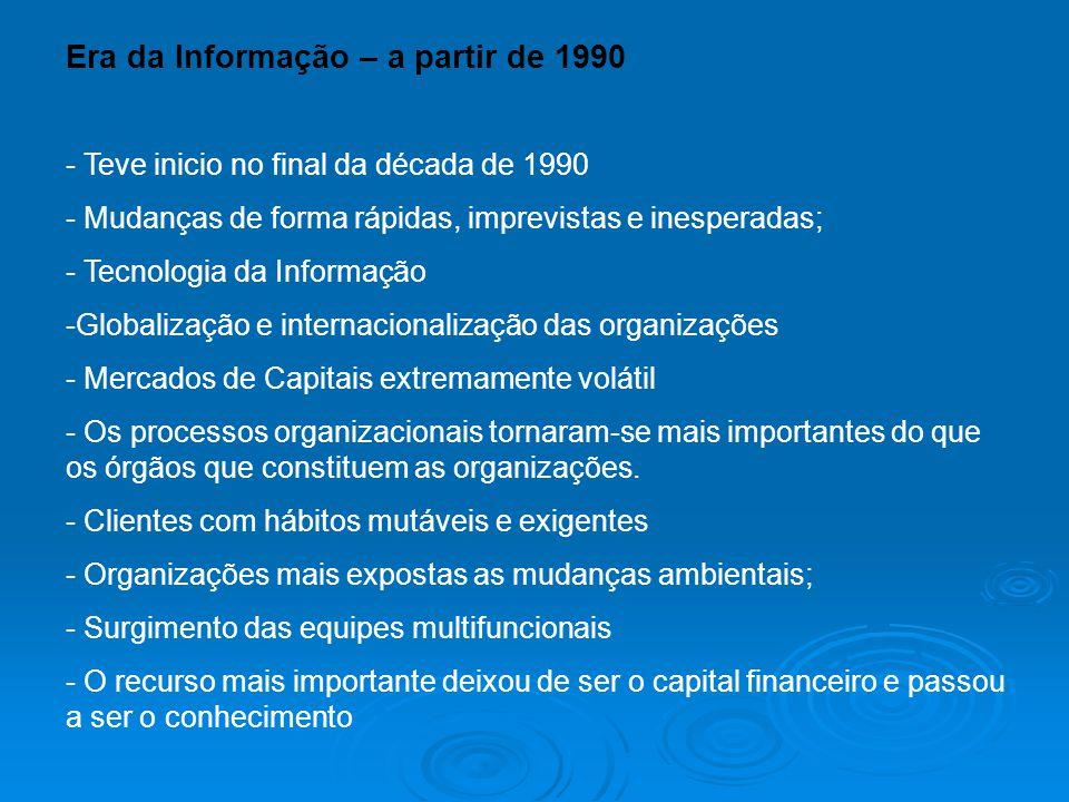Era da Informação – a partir de 1990 - Teve inicio no final da década de 1990 - Mudanças de forma rápidas, imprevistas e inesperadas; - Tecnologia da