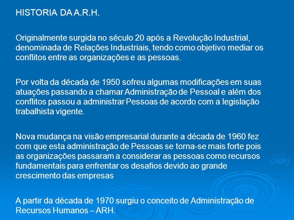 HISTORIA DA A.R.H. Originalmente surgida no século 20 após a Revolução Industrial, denominada de Relações Industriais, tendo como objetivo mediar os c