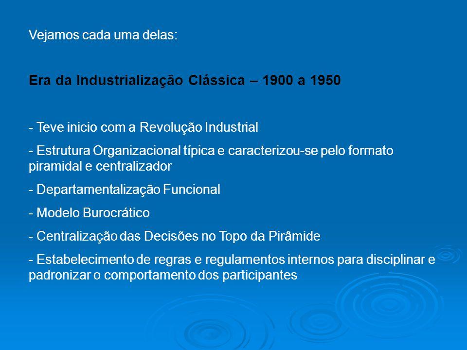 Vejamos cada uma delas: Era da Industrialização Clássica – 1900 a 1950 - Teve inicio com a Revolução Industrial - Estrutura Organizacional típica e ca