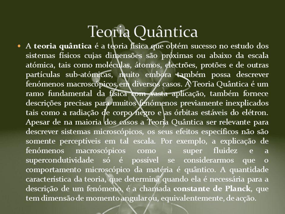 A teoria quântica é a teoria física que obtém sucesso no estudo dos sistemas físicos cujas dimensões são próximas ou abaixo da escala atómica, tais co