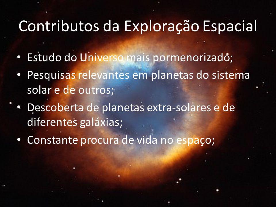 Contributos da Exploração Espacial Estudo do Universo mais pormenorizado; Pesquisas relevantes em planetas do sistema solar e de outros; Descoberta de planetas extra-solares e de diferentes galáxias; Constante procura de vida no espaço;