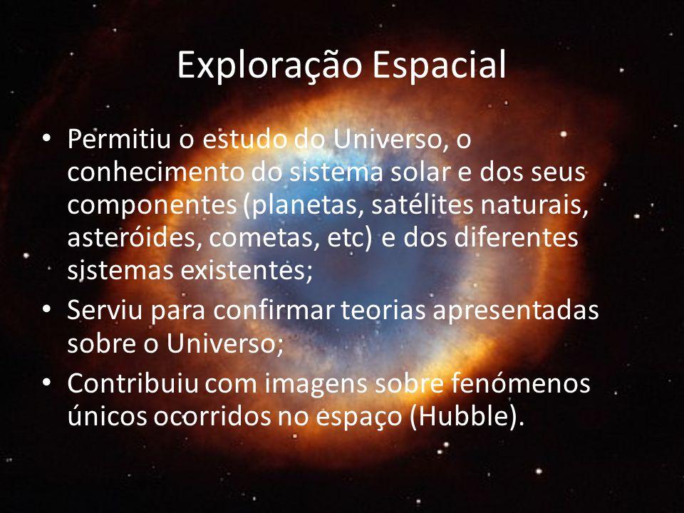 Exploração Espacial Permitiu o estudo do Universo, o conhecimento do sistema solar e dos seus componentes (planetas, satélites naturais, asteróides, cometas, etc) e dos diferentes sistemas existentes; Serviu para confirmar teorias apresentadas sobre o Universo; Contribuiu com imagens sobre fenómenos únicos ocorridos no espaço (Hubble).