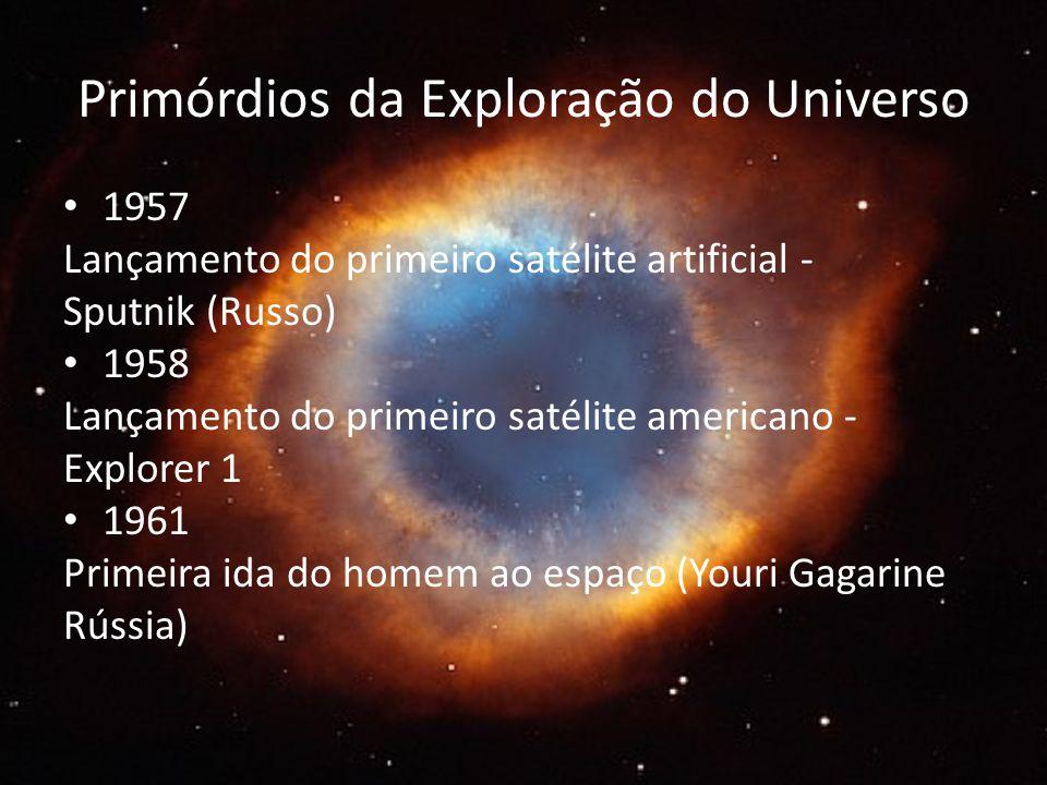 Primórdios da Exploração do Universo 1957 Lançamento do primeiro satélite artificial - Sputnik (Russo) 1958 Lançamento do primeiro satélite americano - Explorer 1 1961 Primeira ida do homem ao espaço (Youri Gagarine Rússia)