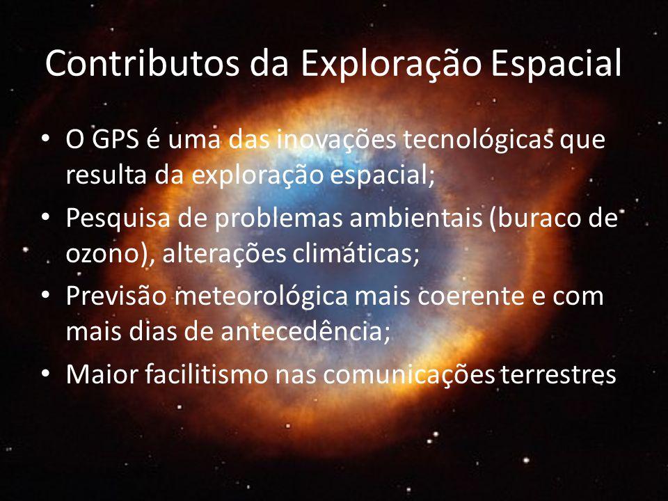 Contributos da Exploração Espacial O GPS é uma das inovações tecnológicas que resulta da exploração espacial; Pesquisa de problemas ambientais (buraco de ozono), alterações climáticas; Previsão meteorológica mais coerente e com mais dias de antecedência; Maior facilitismo nas comunicações terrestres